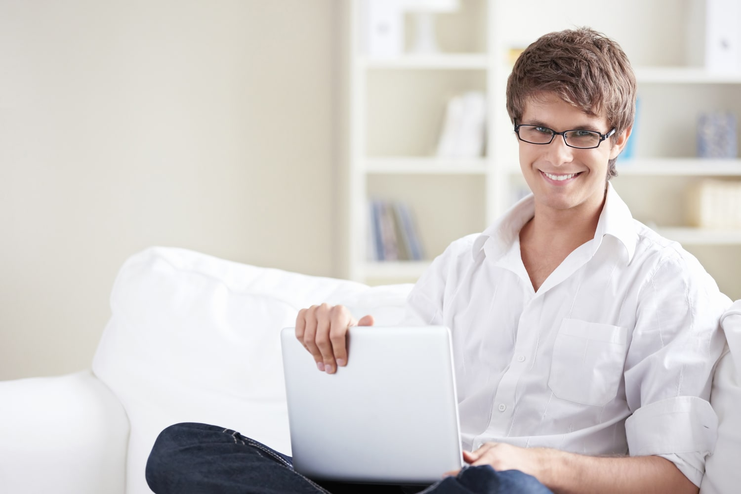 A young man with laptop